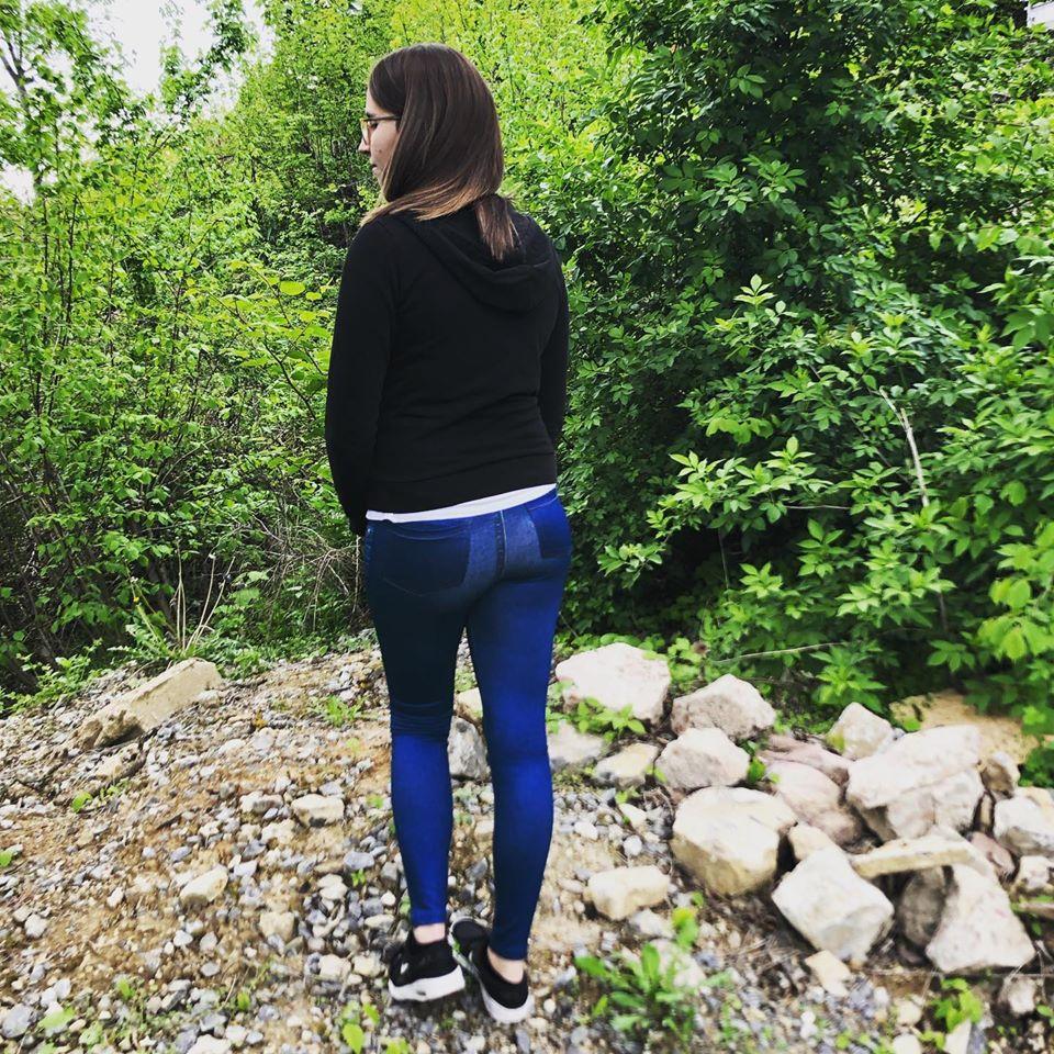 Blaue Thermo-Leggings im Jeans-Look